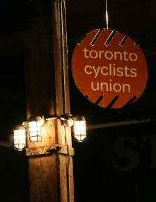 Toronto Cyclist's Union fundraiser signage